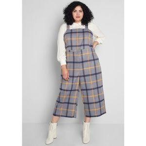 Modcloth 4X Plenty of Panache Crop Gray Jumpsuit